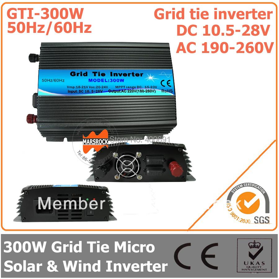 300W Grid Tie Inverter, 10.5-28V DC to AC 190-260V Pure Sine Wave Inverter suitable for 300-360W 18V PV Module or Wind Turbine(China (Mainland))
