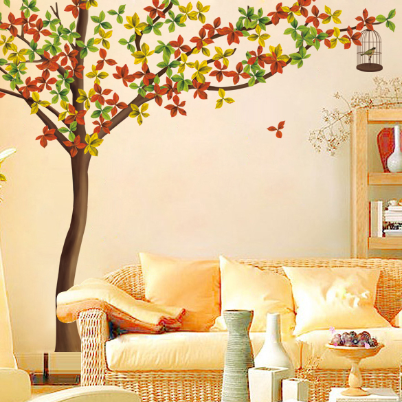 Sofa tv wall background wall large wall stickers for Autumn tree mural