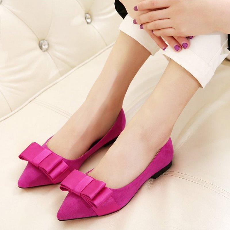 Rose Red Blue Black Pointy Toe Satin Butterfly Shallow Mouth Suede Flats For Women Red Bottom Female Shoes Comfort Footwear<br><br>Aliexpress
