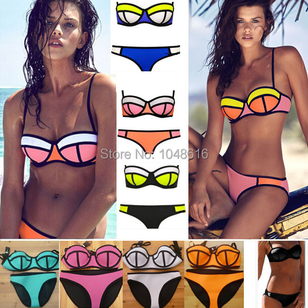 Swimwears Triangle Women's Fashion Neoprene Bikinis Woman 2015 Sexy Swimsuit Push Up Bikini set Bathsuit Tops and Bottoms XS-XL(China (Mainland))