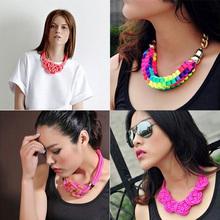 Vintage Women Cotton Handmade Knit Choker Necklace Neon Chinese Knot Pendant for Women 2014 Statement Jewelry(China (Mainland))