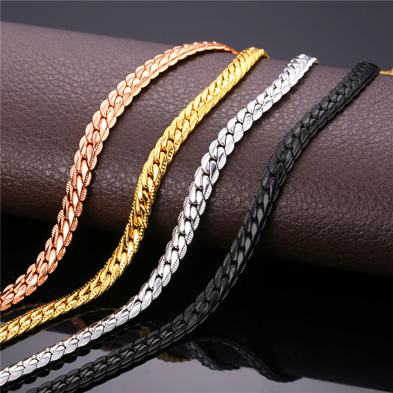 '18K' Stamp Gold/Rose Gold/Black Gun/Platinum Plated Chain Men Gold Link Chain Figaro Necklace For Men Jewelry Wholesale N616(China (Mainland))