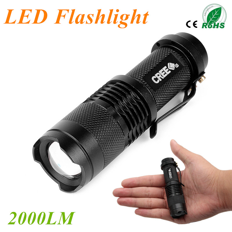 Self Defense Q5 CREE LED Flashlight Tactical 2000LM Lanterna LED Torch Penlight 3 Modes Zoomable linterna LED Diving Flash Light<br><br>Aliexpress