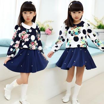 Горячая распродажа! 2015 новых осенью дети цветочные девушки платье принцессы детей типографской краски платье дети рукав платье оптовая продажа