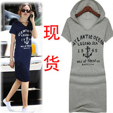 2015 Summer New Fashion Slim Casual Short-Sleeved Cotton Hooded Sports Letters Sports Women Dress Z0032(China (Mainland))