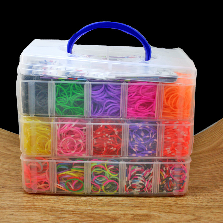 Hot Sale 5000 pcs high quality rubber crazy and fun kids DIY bracelet silicone loom bands box 3 layer PVC family set (FXU028-99)