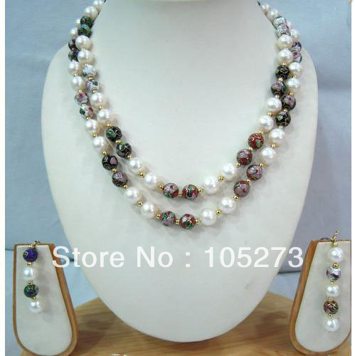 New Free Shipping Pearl Jewelry Set 18'' White Freshwater Pearl Jade Gold Beads Necklace Earrings 4-10mm Top Quality Hot Sale