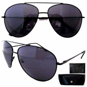 FP12077  Black Frame Quality Spring Hinges Temple Large Aviator Sunglasses W/case