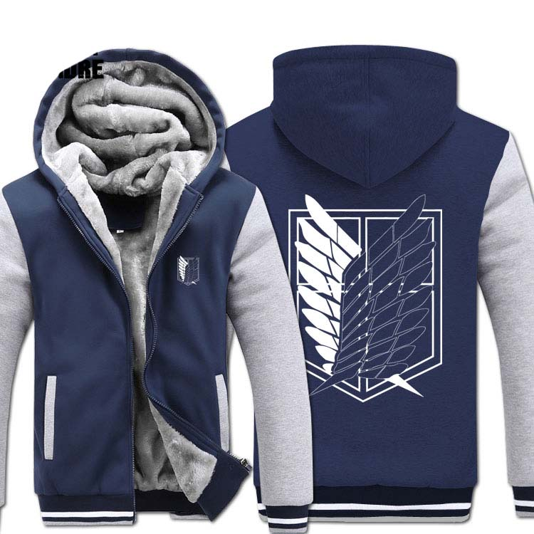 H0020 New Winter Warm Attack on Titan Hoodies Anime Hooded Coat Thick Zipper men casual cardigan