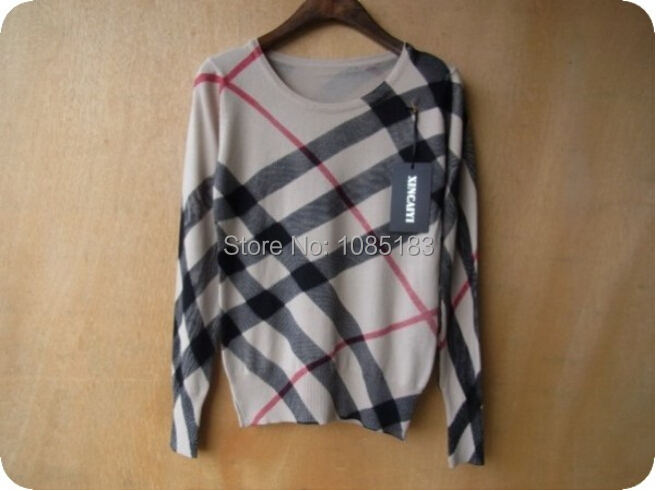 Size S Soft Pullover Sweater Women Geometric Print Casual Knitted Sweater Cotton Jumper Tops 2015 Spring Autumn Free Shipping(China (Mainland))