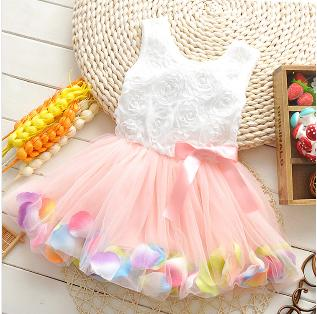 2015 New Casual Flower Girl Dress Girls Summer Dresses Sleeveless Dress For Girls Children's Dress Kids Clothes Ball Gown(China (Mainland))