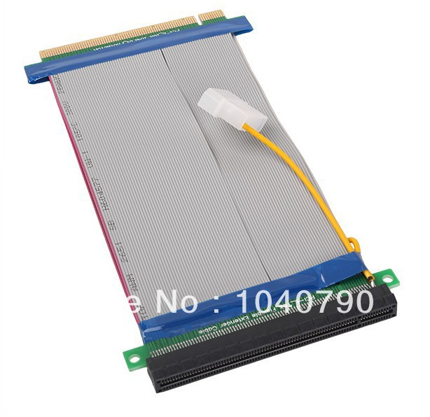 6pcs/lot PCI-E PCI E Express X16 Riser Card Flexible ribbon Extender Cable with molex power supply for Video Card bitcoin miner(China (Mainland))