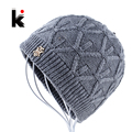 2017 Winter beanies knitted hat mens skullies triple layer fabrics warm casual cap bonnet plus velvet