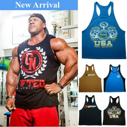 2014 USA Sport Tops Cotton Gifted Gym Vest Gasp Muscle Shirt Singlet Fitness Men Stringer Tank Top Bodybuilding Plus Size 2XL(China (Mainland))