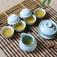 Longquan celadon Kung Fu tea set large tureen set Ru Gongfu tea tea cup