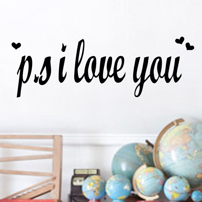 wall decals ZooYoo 8180/Post Scriptum P.S I LOVE YOU special price English wall stickers custom wholesale(China (Mainland))