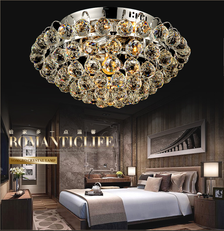 2015 Modern simple home decorative Crystal Ball ceiling lights for bedroom with led light source,Round crystal ceiling lamp(China (Mainland))