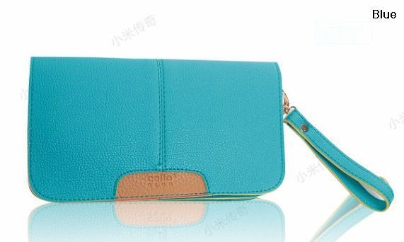 Women Candy Color Wrist Clutches PU Shoulder Bags Side Wallets Passport ID Card Holder Free Shipping 8162
