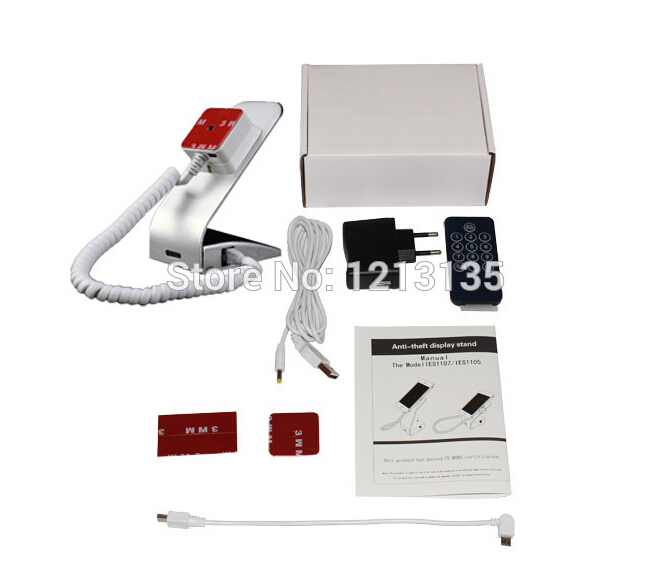 cellphone anti shoplifting rack with alarm and charging function L-shaped silvery color shipping by dhl air <br><br>Aliexpress