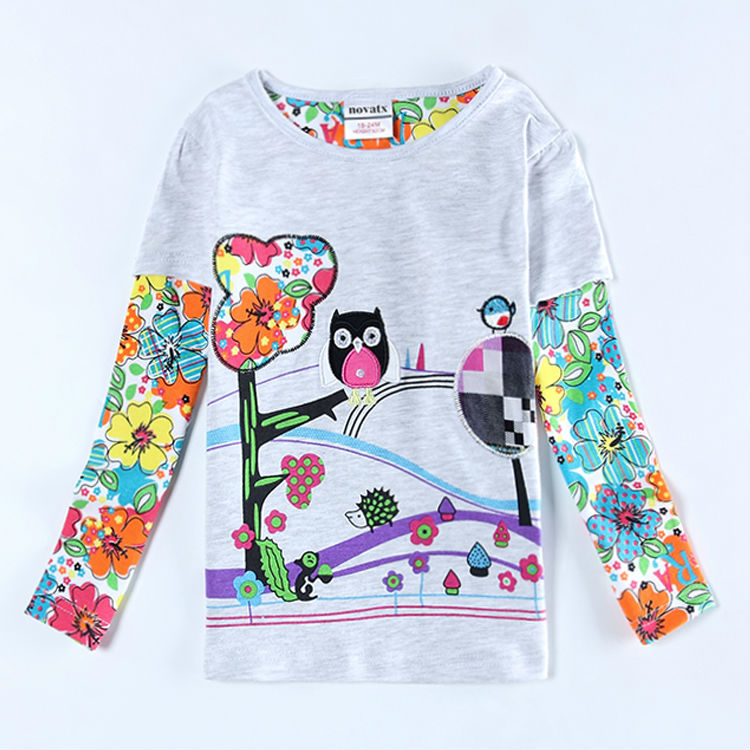 roupa infantil feminina flower girl t shirt vetement enfant cartoon girl long sleeve t shirt kids clothes printed cartoon owl(China (Mainland))