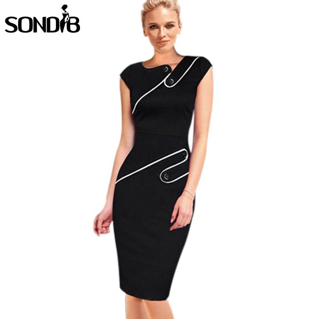 Black sexy pencil party dresses 2015 summer Ladies work wear office dress Women sleeveless elegant bodycon dress Plus Size(China (Mainland))