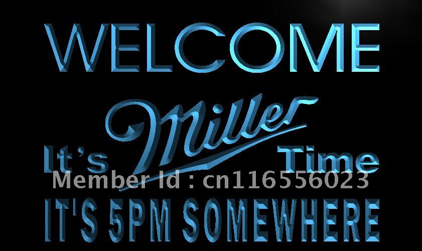 LA673- It's 5 pm Somewhere Welcome Miller Neon Sign home decor shop crafts(China (Mainland))