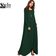Buy SheIn Women Asymmetrical Long Dresses Loose Long Sleeve T-shirt Dress Spring Autumn Casual Pocket Shift Maxi Dress for $20.69 in AliExpress store