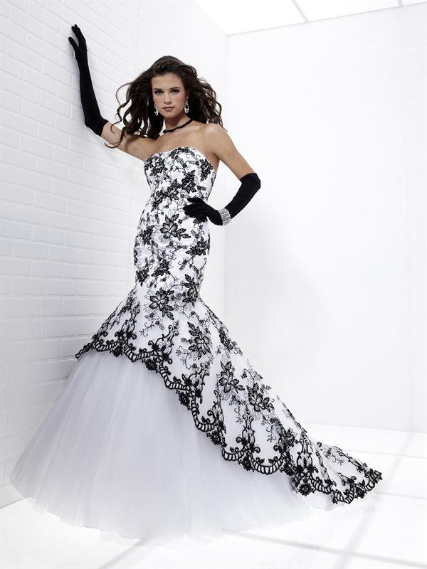 Black And White Mermaid Wedding Gowns : Black lace coverlay mermaid corset up bandage white dress wedding