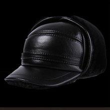 Kış erkek deri şapka kalınlaşmak deri inek derisi beyzbol kapaklar kulakları sıcak Snapback baba erkek şapkalar Sombrero De Cuero del Hombre(China)