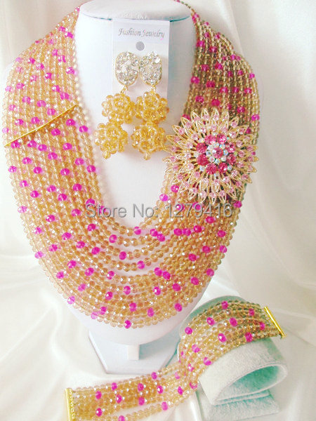 Fashion Nigerian African Wedding Beads Jewelry Set , Crystal Necklace Bracelet Earrings Set C0455<br><br>Aliexpress