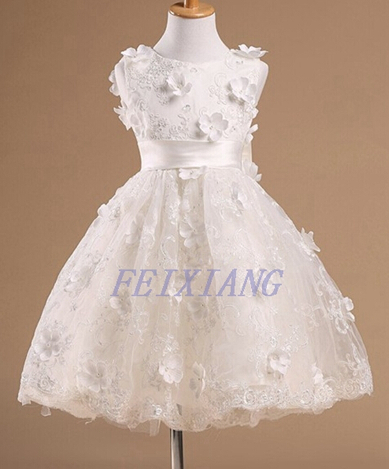 2015 New Baby Kids Summer Dresses Ivory Lace Flower Girl Dress Vestidos Infantis Dress Girls Birthday Party Princess Dress F014