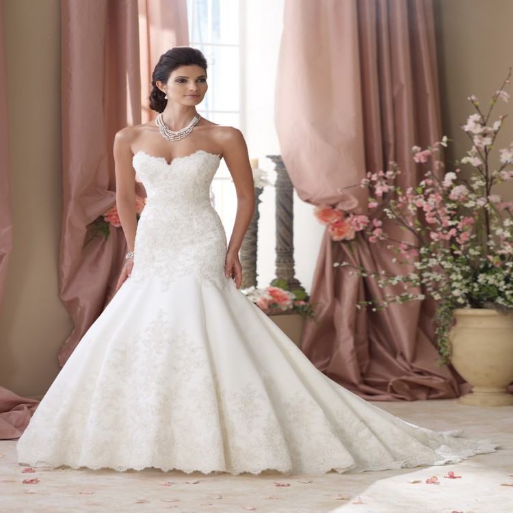 2015 New Arrival Wedding Dresses Sweetheart Trumpet Mermaid Chiffon Long Strapless Bride Gown