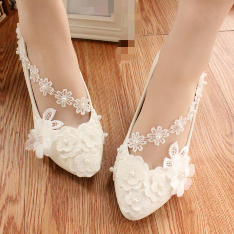 Luxury white wedding shoes women bride thin high heels beading flowers party pumps shoes 34-40