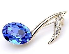 Gold Color Fashion Rhinestone Wedding Bridal Brooch Luxury Crystal Musical Note Brooch Pin Birthday Gift(China (Mainland))