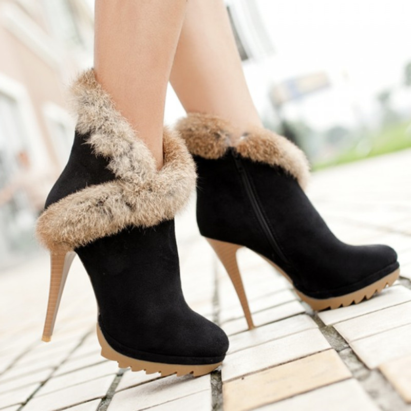 Women Boots Platform High Heels Winter Boots Sexy Stiletto Ankle Boots with Fur Shoes Black Green Small Size 34-39(China (Mainland))