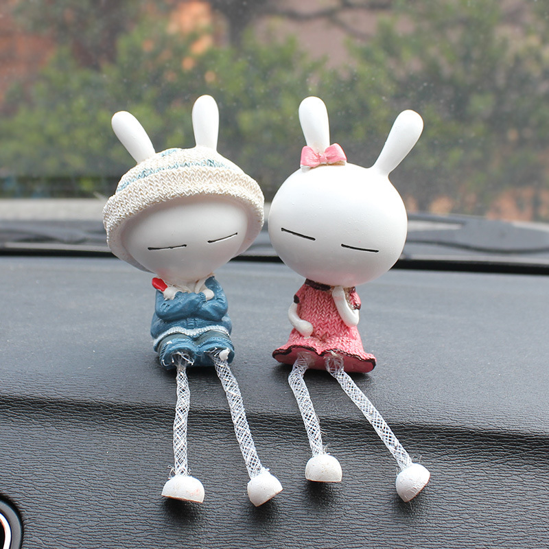 2pcs/set The long eared rabbit doll figures toy cute car decoration models action figures toy doll funko pop baby toys gift(China (Mainland))