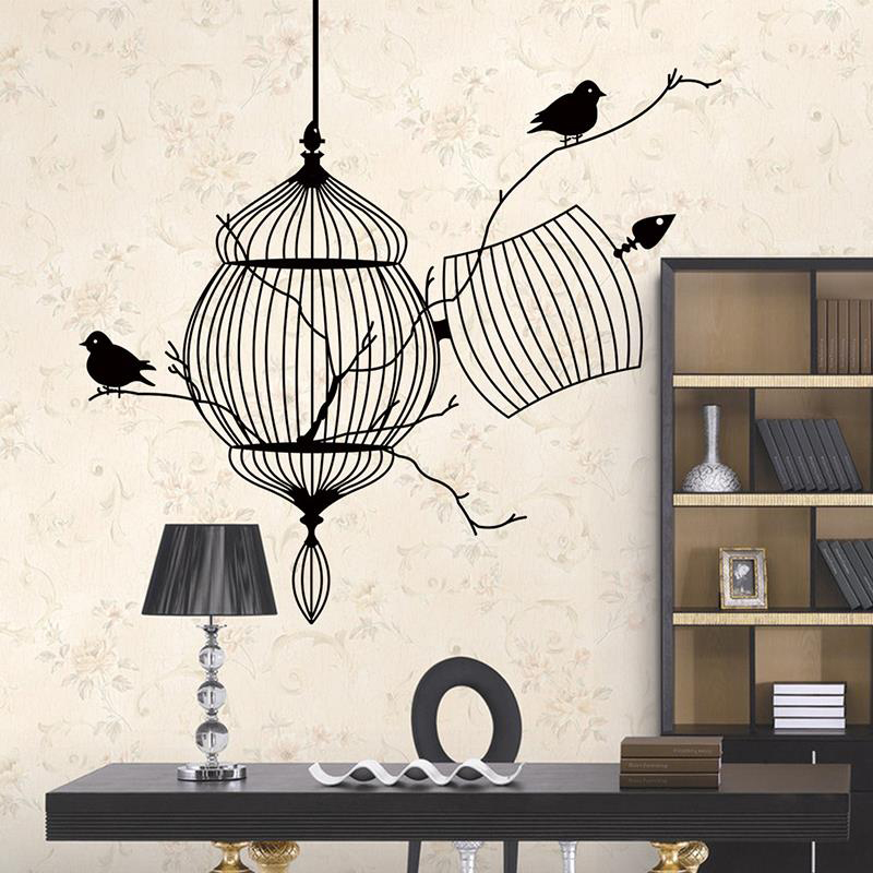 Birds Cage Branch 3d Wall Stickers Home Decor Livingroom Study Room Kids Decorative Vinyl Wall Decals adesivo de parede Mural(China (Mainland))