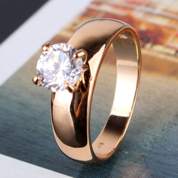 (10 pairs/lot) Wholesale 18K Gold Plated Round Cut White Zircon CZ Band Engagement Ring For Women R083<br><br>Aliexpress