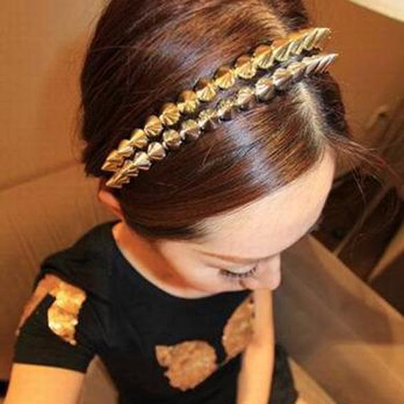 Cool Punk Headband Spike Cone Rivets Women Girl Hair Band(China (Mainland))