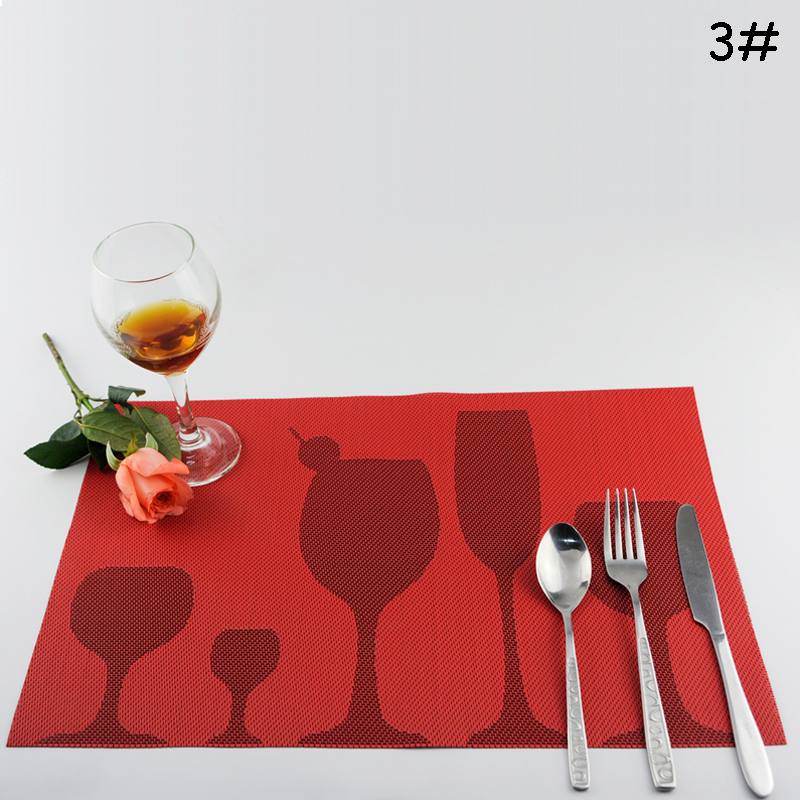 4pcs/lot 5 Colors PVC Non-slip Kitchen Dining Tablemat Plastic Placemat Wine Cup Goblet Pattern For Kitchen Bar Office Table(China (Mainland))