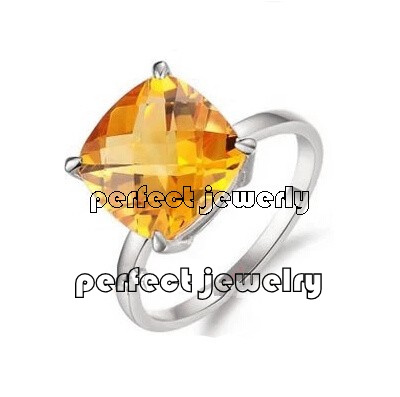 Citrine ring Free shipping Fashion rings Natural citrine 925 silver plate 18k white Yellow gems For men or women #14090204(China (Mainland))