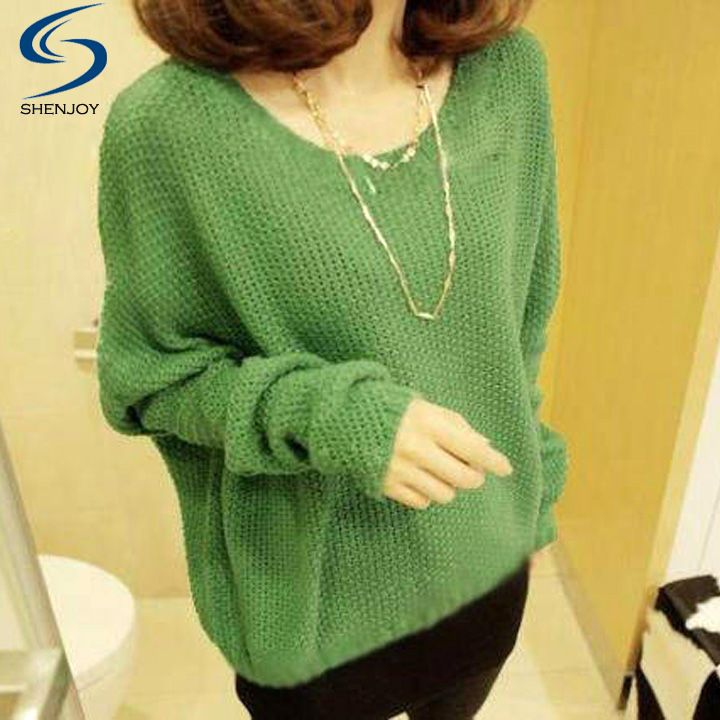Women Winter Sweaters Batwing Sleeve Loose Hollow Out Knitted Outerwear O-neck Womens Pullovers 36(China (Mainland))