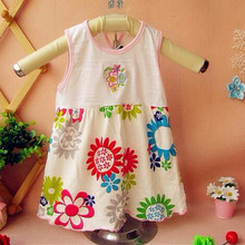 2016 Retail Baby Girls Dress Infant 100% Cotton Clothing Sleeveless Printed Dress Summer Clothes IOR-E8R5E9(China (Mainland))