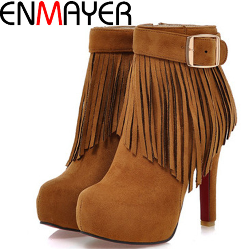 ENMAYER Big size34-42 HOT winter New Arrived Round Toe high heels women boots snow Tassel Faux suede ankle lady shoes