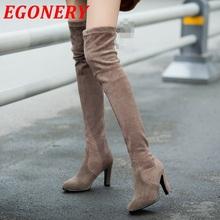 Zapatos de mujer de invierno de cuero genuino botas largas tacones punta estrecha peluche atractivo de las mujeres sobre la rodilla botas altas de invierno botas de nieve(China (Mainland))