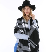 Hot Sale England Fashion Tartan Style Black And White Plaid Unisex Winter Women Men Big Oversize Shawls And Scarves Luxury Brand