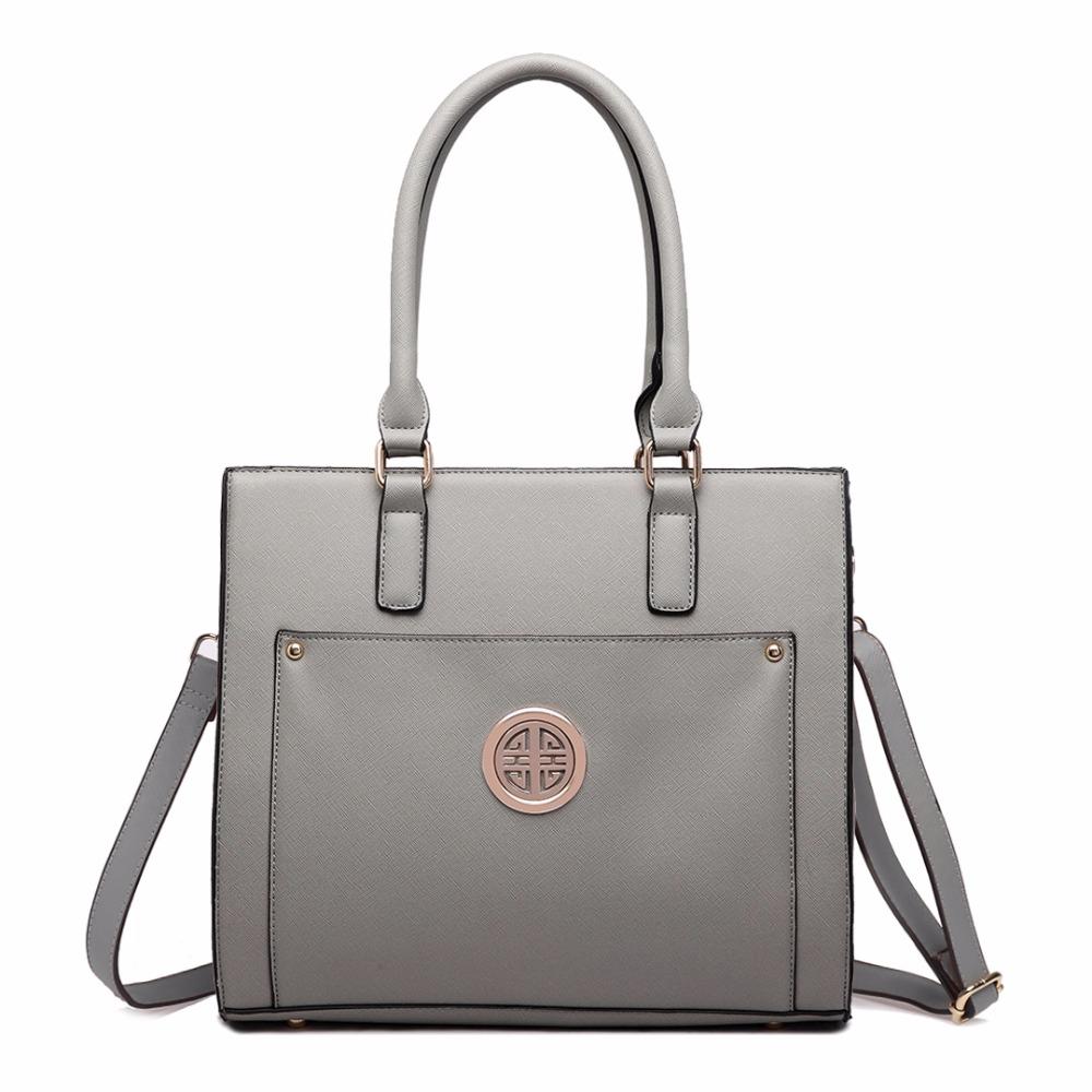 Women Designer Celebrity PU Leather Handbag Cross Body Shoulder Satchel Tote Hand Bag Black Gray Navy Pink Purple Beige LT1650(China (Mainland))