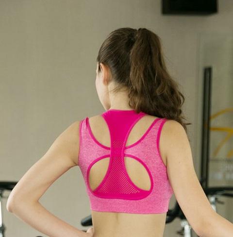 Girls Training Bra Front Zip Pink Sports Bra Wire Free High Impact Push Up Sport Bar