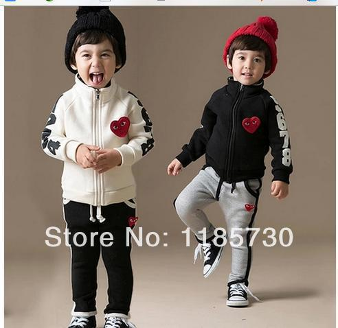 New 2014 Summer Children's Baby Boy Girl Mini Fashion Printing Little Red Heart Long-Sleeved Jacket + Pants Two Piece Sport Set(China (Mainland))