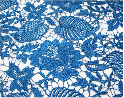Blue Crocheted Lace fabric, venise lace fabric, bridal lace fabric, retro floral leaves lace, on sale, MF059